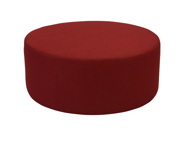 Red Round Ottoman Maybell Hire, Round Red Ottoman